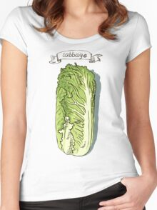 watercolor hand drawn vintage illustration of cabbage Women's Fitted Scoop T-Shirt