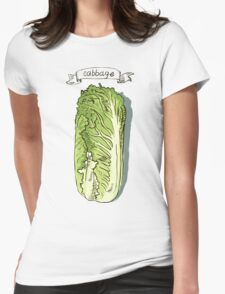 watercolor hand drawn vintage illustration of cabbage Womens Fitted T-Shirt