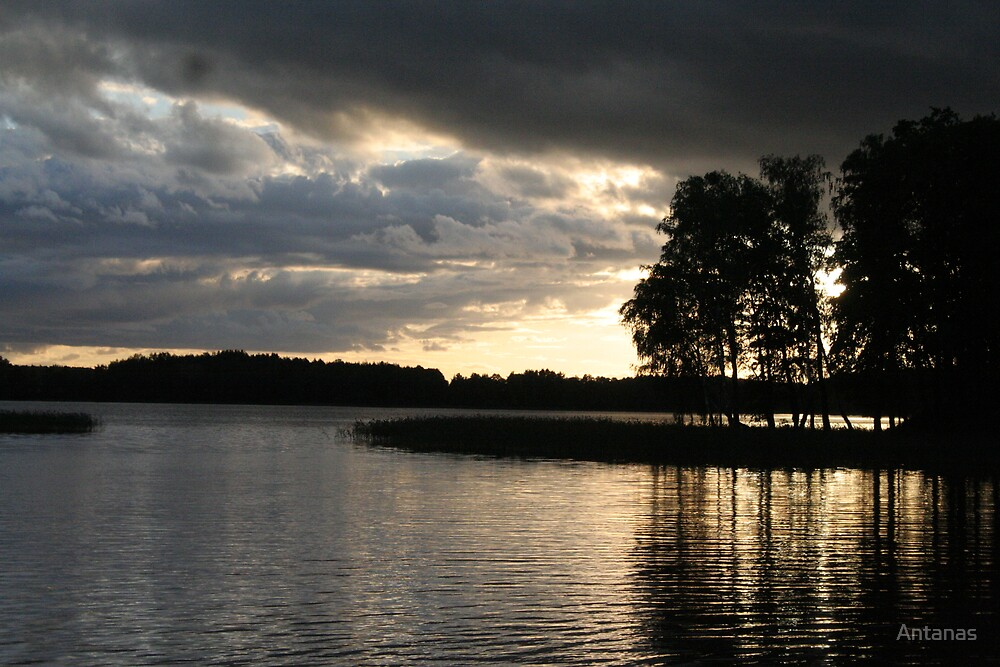 Reflection Clouds Trees Light by Antanas