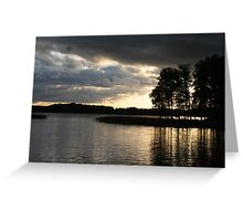 Reflection Clouds Trees Light Greeting Card