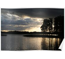 Reflection Clouds Trees Light Poster