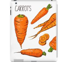 Set simple sketch icons carrots isolated on white background. Vegetables. Food. Hand drawn  iPad Case/Skin