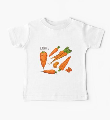 Set simple sketch icons carrots isolated on white background. Vegetables. Food. Hand drawn  Baby Tee