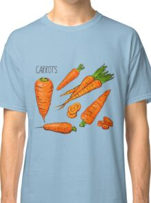 Set simple sketch icons carrots isolated on white background. Vegetables. Food. Hand drawn  Classic T-Shirt