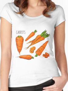 Set simple sketch icons carrots isolated on white background. Vegetables. Food. Hand drawn  Women's Fitted Scoop T-Shirt