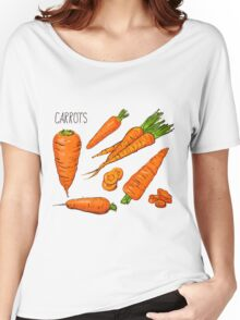 Set simple sketch icons carrots isolated on white background. Vegetables. Food. Hand drawn  Women's Relaxed Fit T-Shirt
