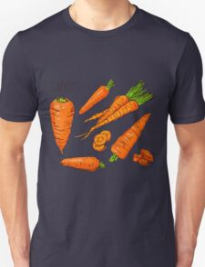 Set simple sketch icons carrots isolated on white background. Vegetables. Food. Hand drawn  Unisex T-Shirt