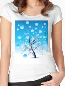 Decorative Winter Tree Women's Fitted Scoop T-Shirt