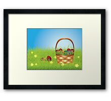 Easter Basket on Lawn Framed Print