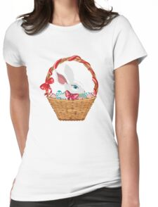 Easter Bunny in Basket Womens Fitted T-Shirt