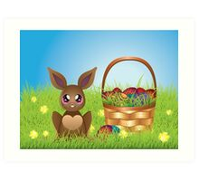 Easter Bunny with Eggs in the Basket Art Print