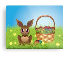 Easter Bunny with Eggs in the Basket Metal Print