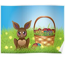Easter Bunny with Eggs in the Basket Poster