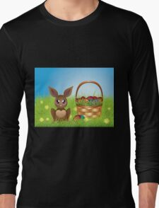 Easter Bunny with Eggs in the Basket Long Sleeve T-Shirt