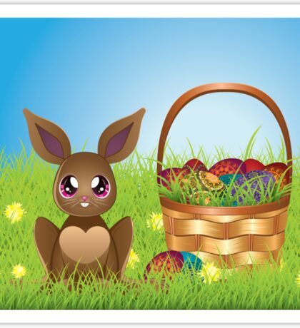 Easter Bunny with Eggs in the Basket Sticker