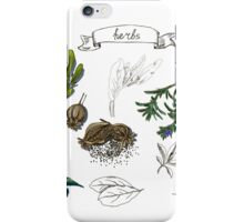 illustration set with hand drawn herbs iPhone Case/Skin
