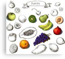 Set of Doodle Fruits - for scrapbook or design - hand drawn Canvas Print