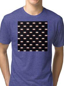 Black Graphic print white tribal triangle Tri-blend T-Shirt