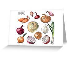 illustration of retro organic Onions set Greeting Card