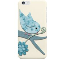 Blue Fabric Bird with Flower On Pale Yellow iPhone Case/Skin
