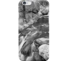 Rocky Mountain Canyon Streaming in Black and White iPhone Case/Skin