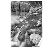 Rocky Mountain Canyon Streaming in Black and White Poster