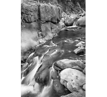 Rocky Mountain Canyon Streaming in Black and White Photographic Print