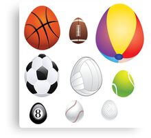 Egg Shaped Sport Balls Canvas Print