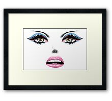 Face with Blue Eyes Framed Print
