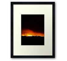 Fire in Night Sky - Melbourne (Portrait) Framed Print