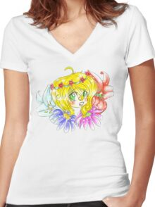 Flower Fun Women's Fitted V-Neck T-Shirt