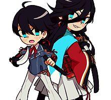 Horikawa and Kanesada (backgroundless) by hachibani