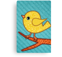 Tiny Yellow Felt Bird Canvas Print