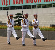 Changing Guard at the Mausoleum of Ho Chi Minh, Hanoi by Bev Pascoe