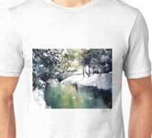 Running water down below in the dark, frozen forest Unisex T-Shirt