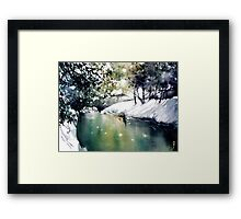 Running water down below in the dark, frozen forest Framed Print