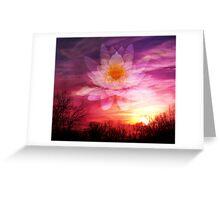 Rising Lotus Setting Sun Greeting Card