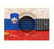 Old Vintage Acoustic Guitar with Slovenian Flag Art Print