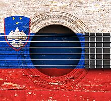 Old Vintage Acoustic Guitar with Slovenian Flag by Jeff Bartels