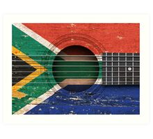 Old Vintage Acoustic Guitar with South African Flag Art Print