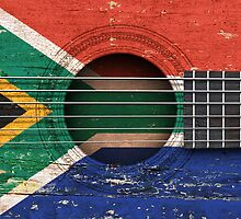Old Vintage Acoustic Guitar with South African Flag by Jeff Bartels