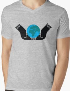 HEAL*SAVE*HELP Mens V-Neck T-Shirt