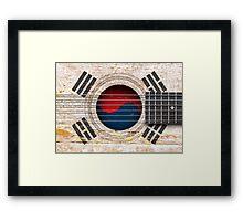 Old Vintage Acoustic Guitar with South Korean Flag Framed Print