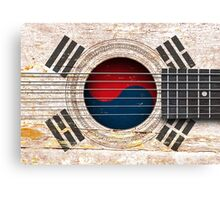 Old Vintage Acoustic Guitar with South Korean Flag Canvas Print