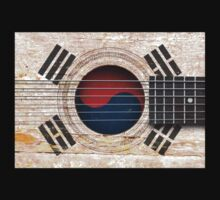 Old Vintage Acoustic Guitar with South Korean Flag One Piece - Long Sleeve
