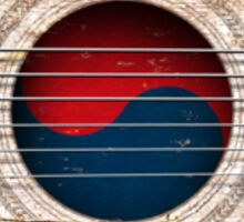Old Vintage Acoustic Guitar with South Korean Flag Sticker