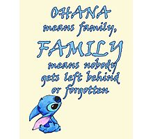 Lilo & Stitch - Ohana Family Quote Photographic Print