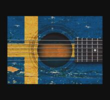 Old Vintage Acoustic Guitar with Swedish Flag Kids Clothes