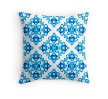 Geometrical ornament in blues Throw Pillow