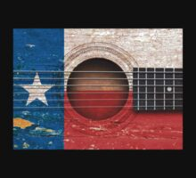 Old Vintage Acoustic Guitar with Texas Flag Kids Clothes